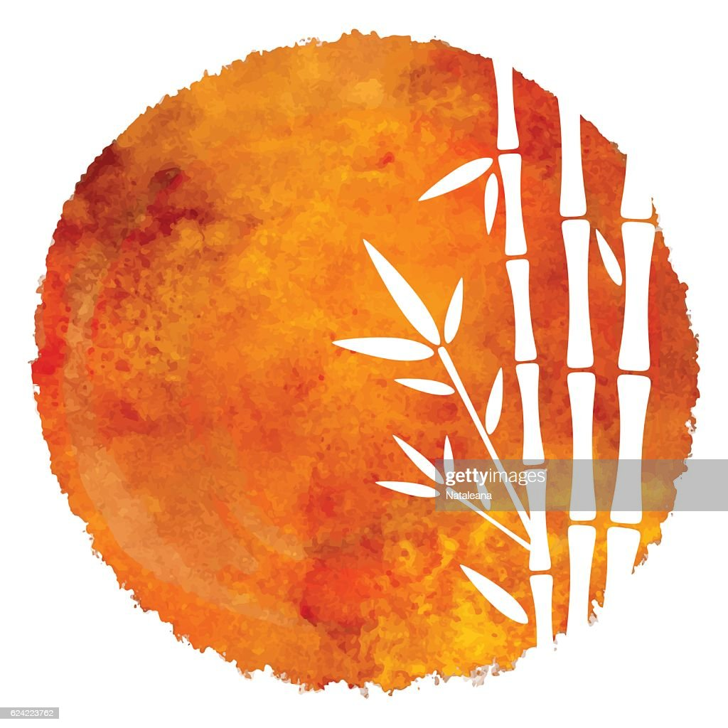 Watercolor circle paint stain and bamboo trees