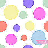 Watercolor circles seamless pattern. Colorful abstract background.