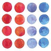Watercolor circles set.