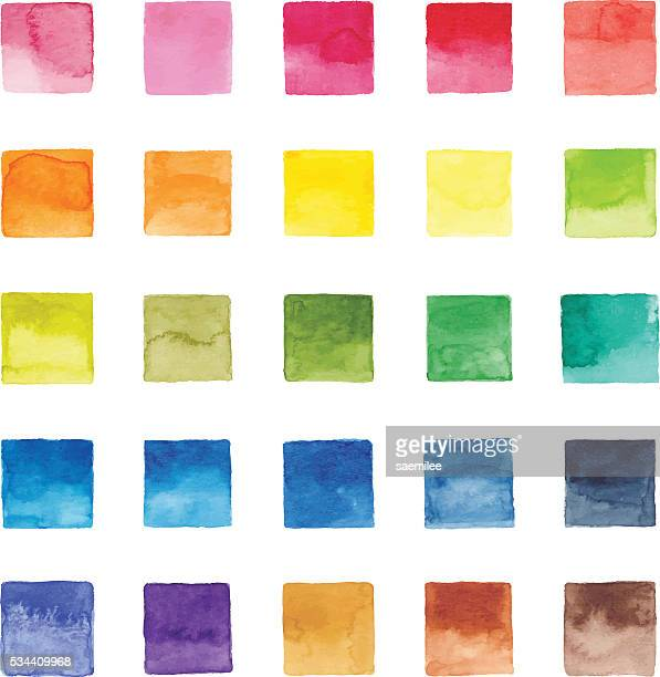 watercolor color chart - square stock illustrations