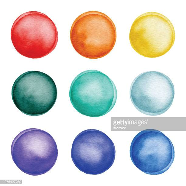 watercolor colorful dots set - sports round stock illustrations