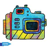Watercolor colorful photo camera
