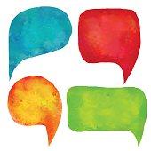 Watercolor colorful speech bubbles, frames set