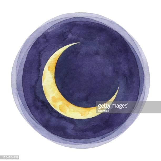 watercolor crescent moon - moon stock illustrations