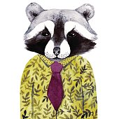 Watercolor cute illustration with raccoon in green shirt.