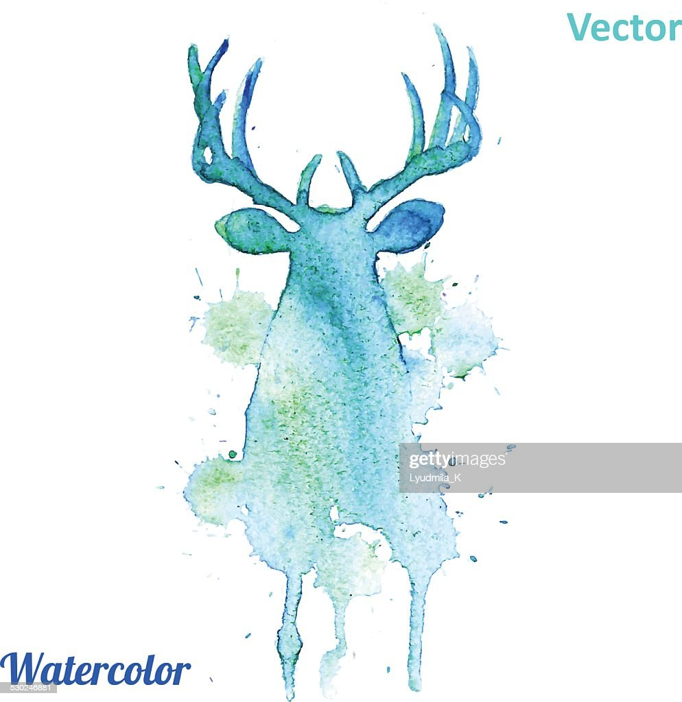 Watercolor deer head Vector on the white background.