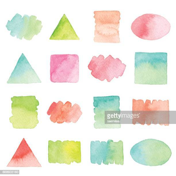 watercolor design elements - square composition stock illustrations, clip art, cartoons, & icons