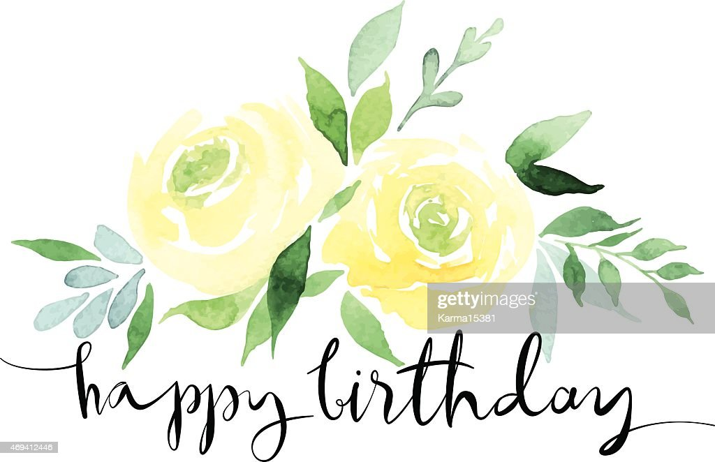 A watercolor design of yellow roses with happy birthday