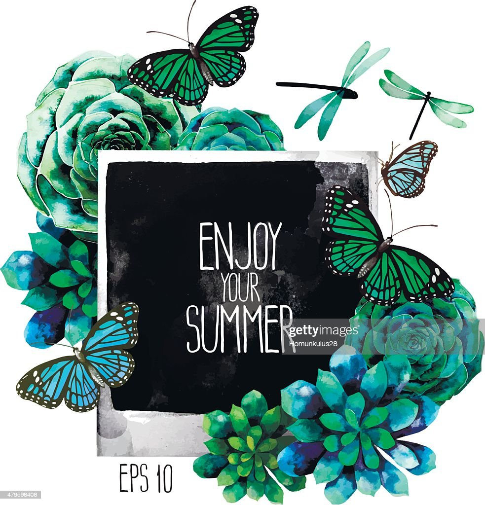 Watercolor design with succulents, photo, butterflies and dragonflies
