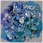 Watercolor doodles space illustration