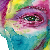 Watercolor drawing of a man's head smeared in paint, multi-colored face, portrait, opened eye, glare on iris eyes, on holiday holi, indian holiday, white background for decoration and decoration
