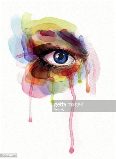 watercolor eye - crying stock illustrations, clip art, cartoons, & icons