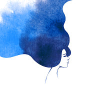 Watercolor Fashion Woman with Long Hair