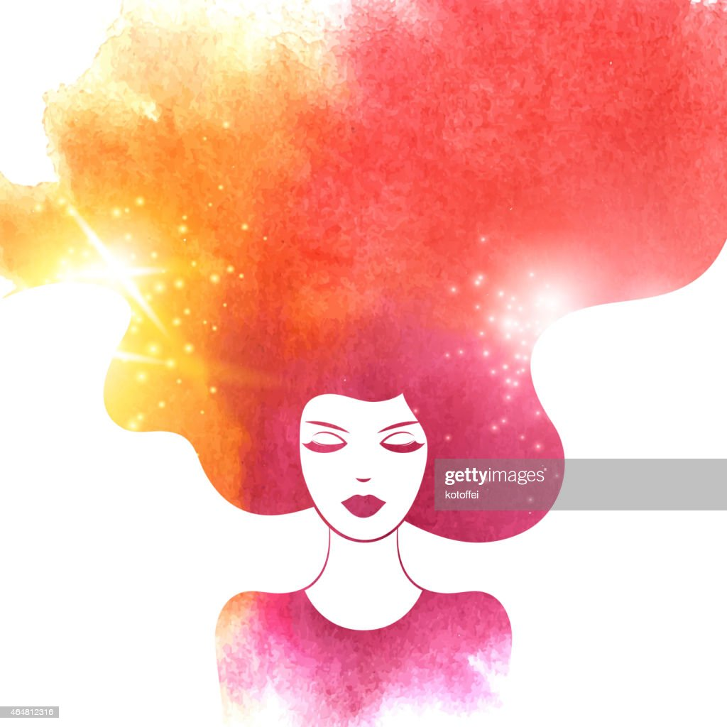 Watercolor Fashion Woman with Long Hair. Vector Illustration.