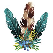 Watercolor feathers, flowers, leafs