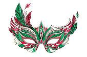 Watercolor festive Christmas carnival mask