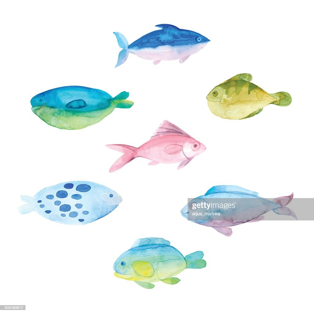Watercolor fishes on a white background.