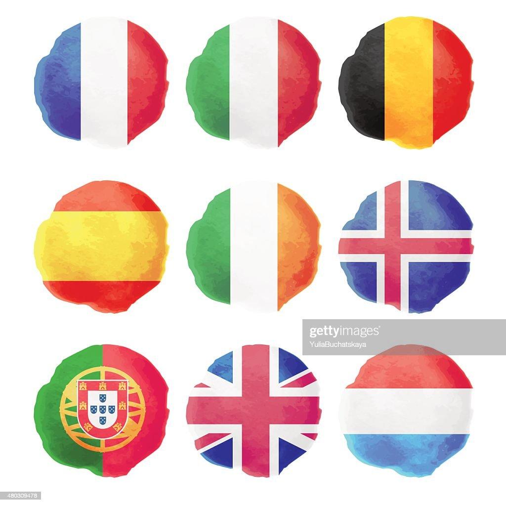 Watercolor Flags, Part I