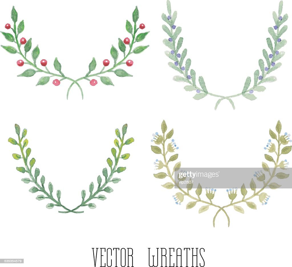 Watercolor floral set of wreaths