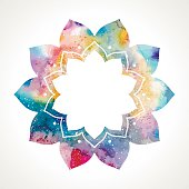 Watercolor flower oriental frame vector