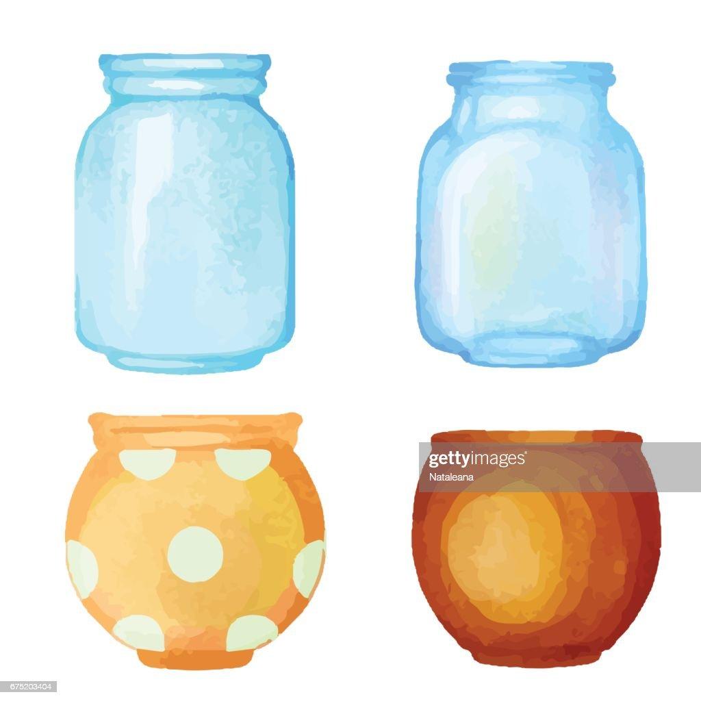 Watercolor flower pot, glass jar, vase