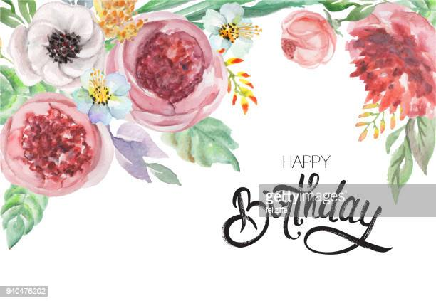 """watercolor flowers and lettering """"happy birthday"""" for design card, postcard, textile, flyer"""