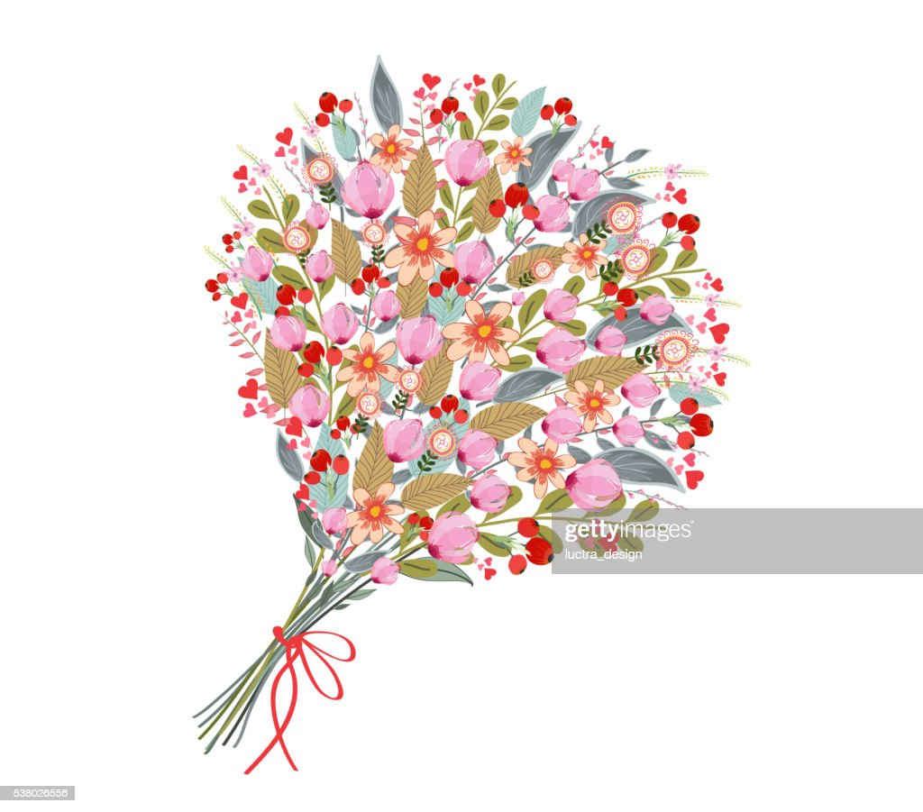 Watercolor flowers bouquet, on white background