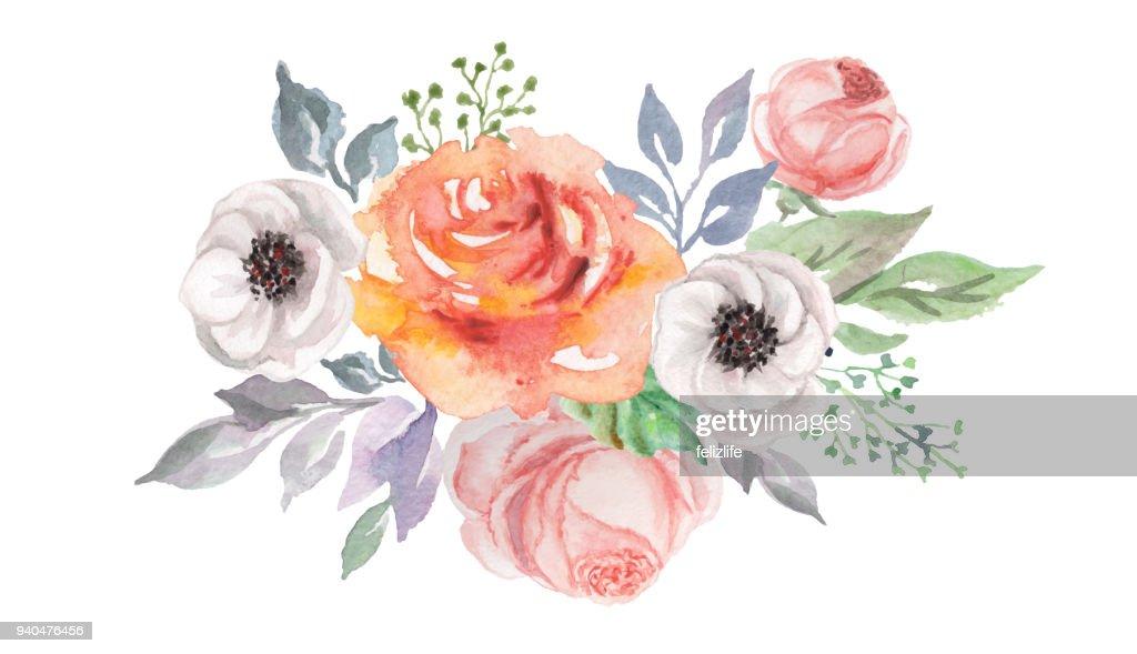 watercolor flowers for design card, postcard, textile, flyer : stock illustration