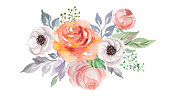 watercolor flowers for design card, postcard, textile, flyer