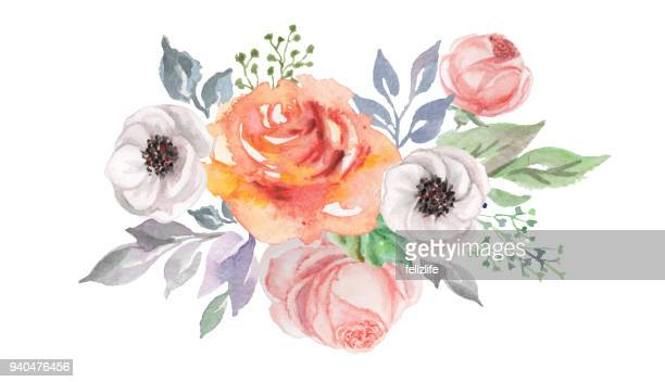 watercolor flowers for design card, postcard, textile, flyer - rose colored stock illustrations