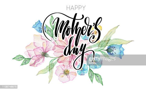 """aquarellblüten mit beschriftung """"glücklicher müttertag"""" - muttertag herz stock-grafiken, -clipart, -cartoons und -symbole"""