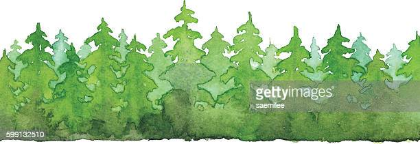aquarell forest - berg stock-grafiken, -clipart, -cartoons und -symbole