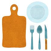 Watercolor fork, plate, spoon, cutting board