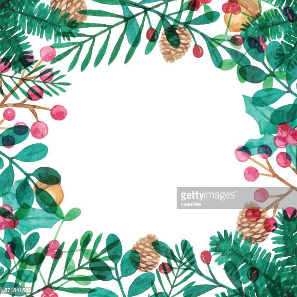 aquarell-rahmen mit winter-elemente - tannenzweig stock-grafiken, -clipart, -cartoons und -symbole