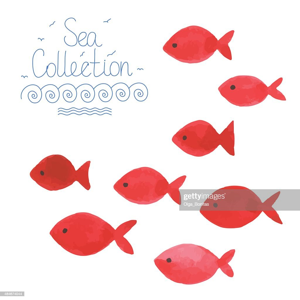 Watercolor funny fishes