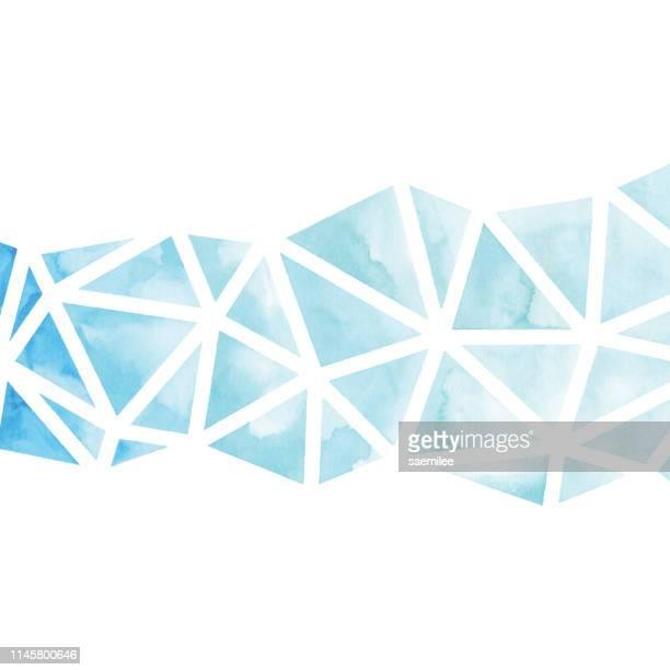 aquarell geometrisches blau-dreieck-hintergrund - mosaik stock-grafiken, -clipart, -cartoons und -symbole