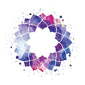 Watercolor geometric cosmic frame vector