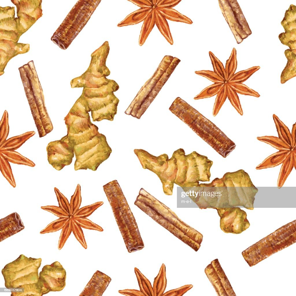 Watercolor ginger root, star anise, cinnamon, Hand drawn ginger illustration isolated on white background, seamless pattern, Organic healthy food ingredient for farmer market, restaurant menu, paper