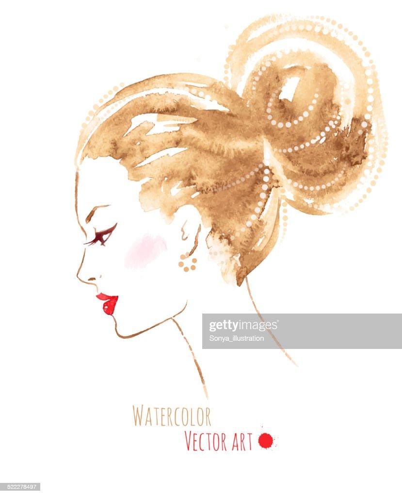 Watercolor girl. Vector EPS 10.