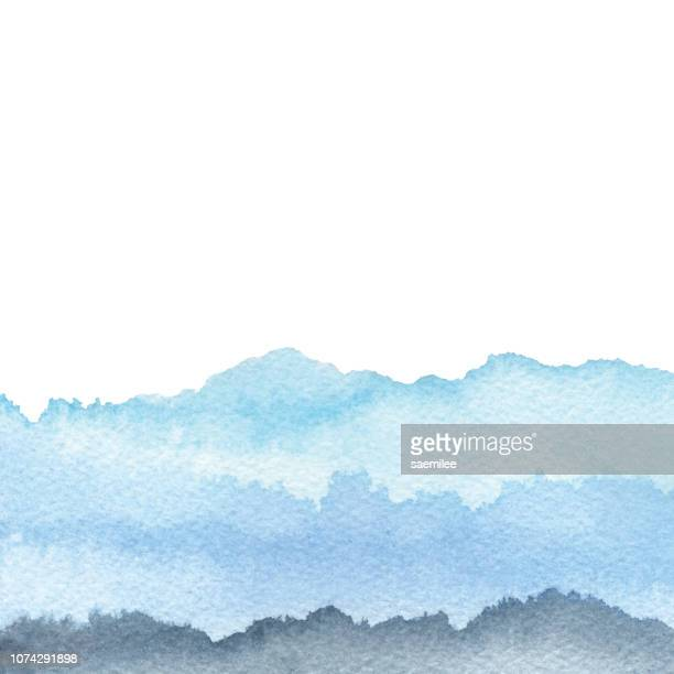 watercolor gradient blue background - mountain stock illustrations