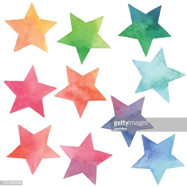 illustrazioni stock, clip art, cartoni animati e icone di tendenza di watercolor gradient stars - a forma di stella