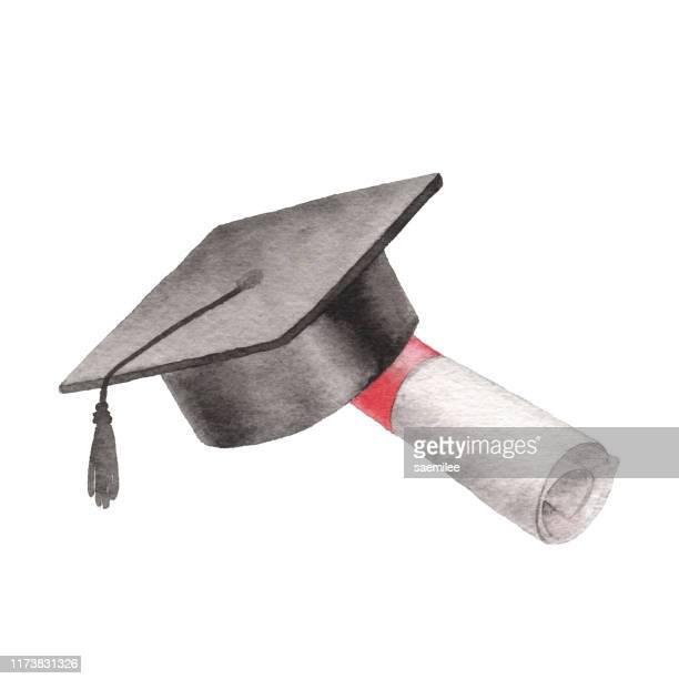 ilustraciones, imágenes clip art, dibujos animados e iconos de stock de sombrero graduado de acuarela - birrete