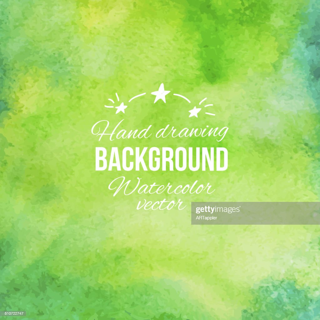 Watercolor green abstract hand drawing vector