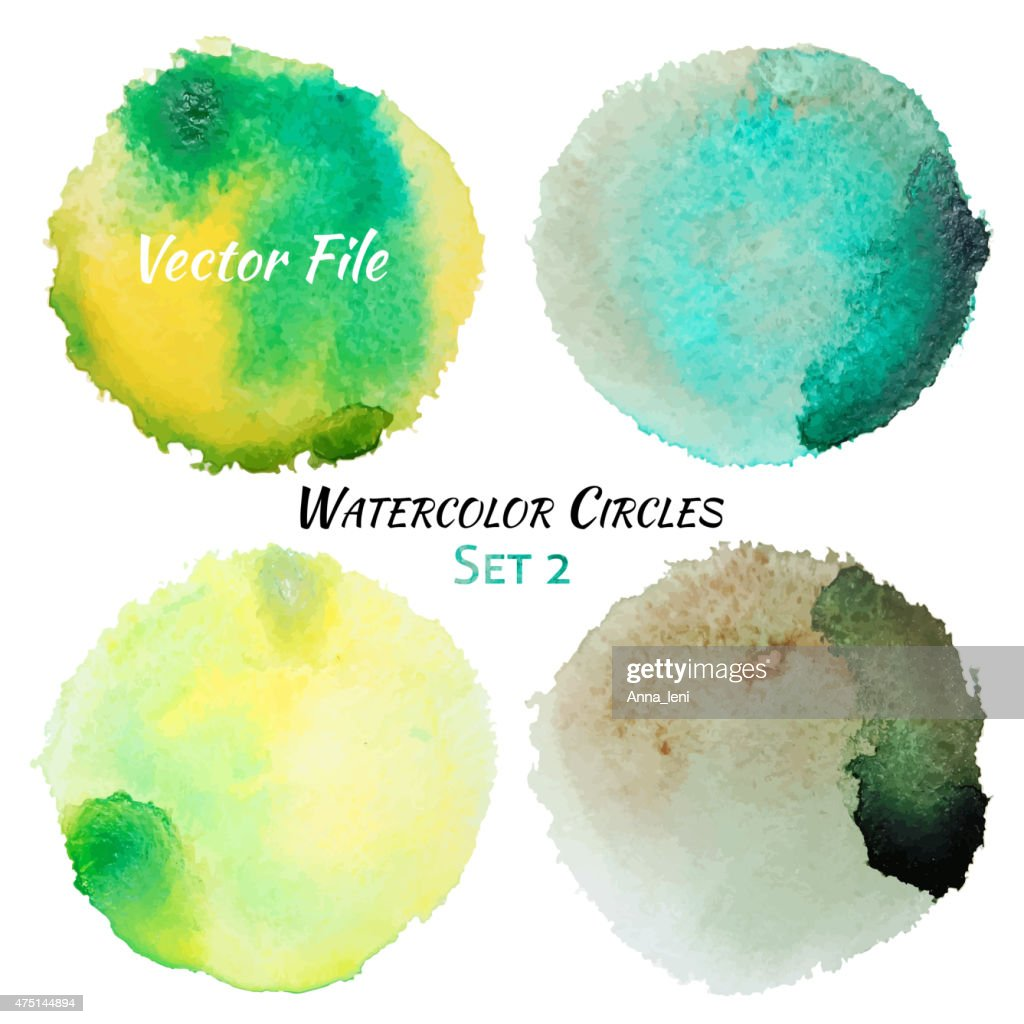 Watercolor Green and Yellow Vector Colorful Circles Set