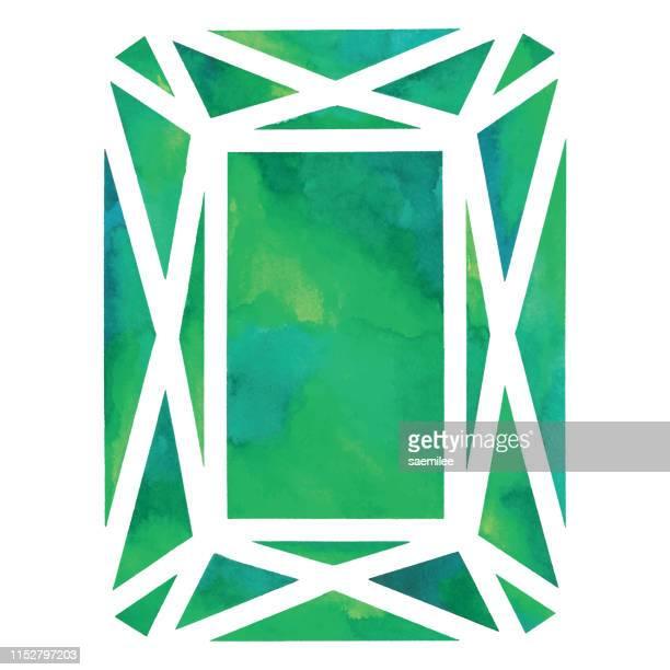 watercolor green gem - emerald gemstone stock illustrations