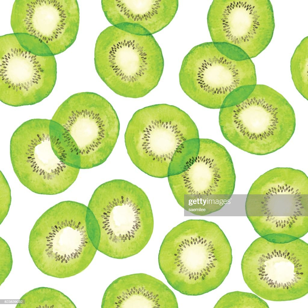 Watercolor Green Kiwi Pattern