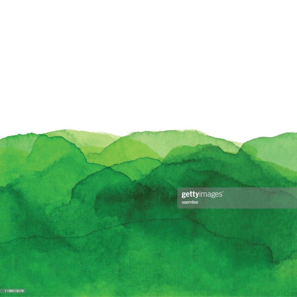 Watercolor Green Waves Background : Stock Illustration