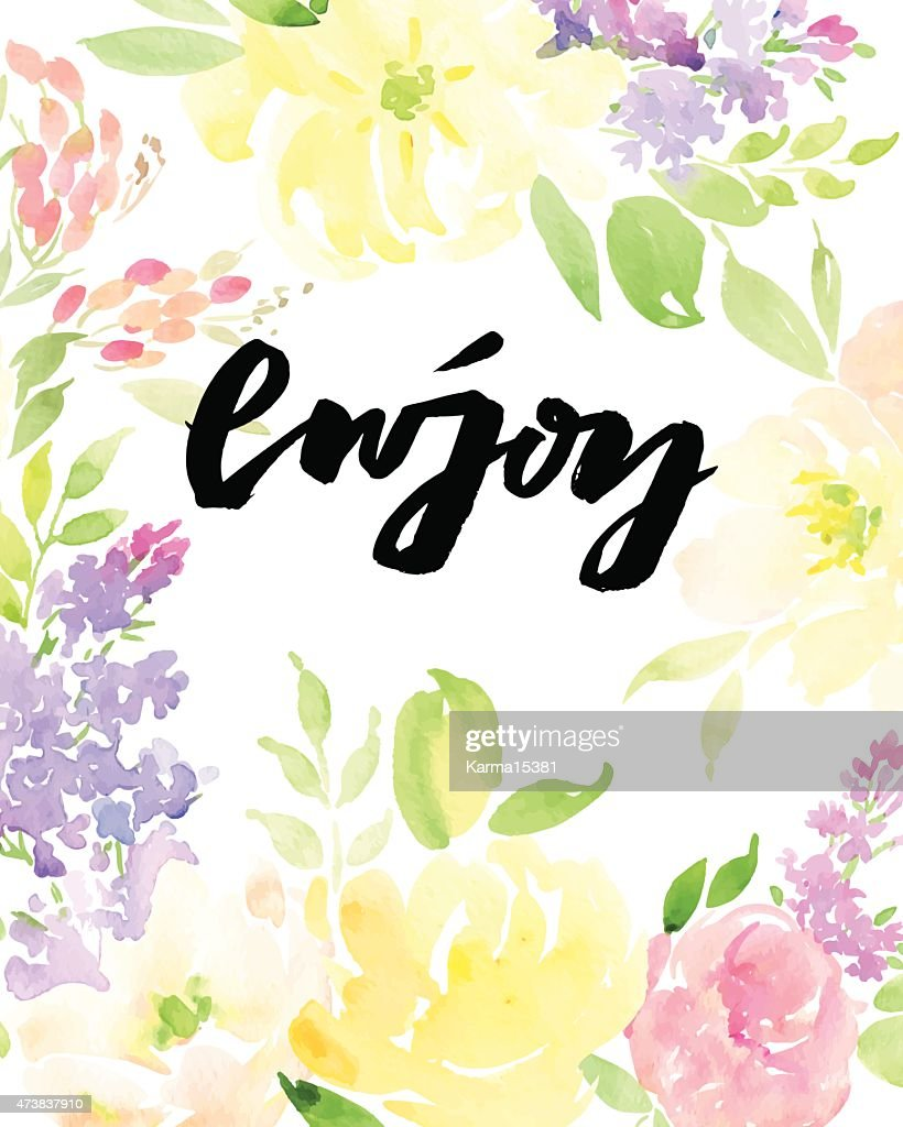 Watercolor greeting card flowers.