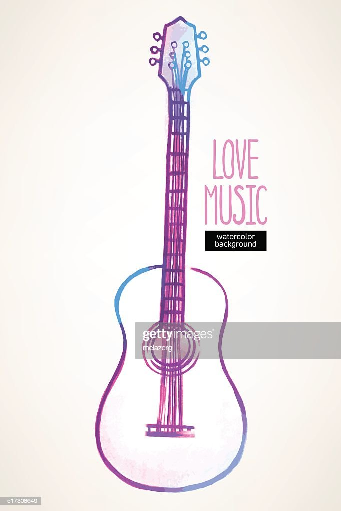 watercolor guitar