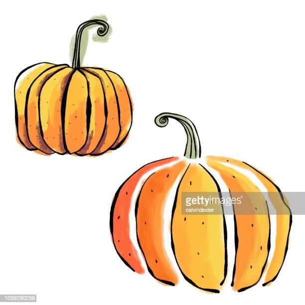watercolor halloween pumpkins - pumpkin stock illustrations, clip art, cartoons, & icons